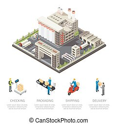 Colored Factory Isometric Composition