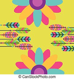 colored feathers flowers hippie retro free spirit