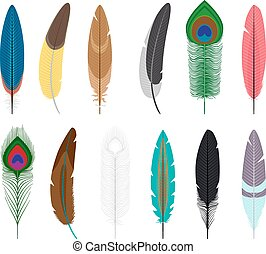 Colored feathers icons