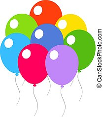 Colored festive balloons on a white background.