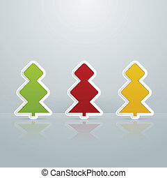 Colored Fir-Trees Object. Set of Five