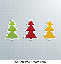 Colored Fir-Trees. Set of Four