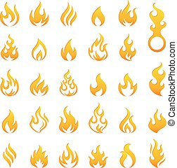 Colored Fire and Flames vector icon set - Big set of 29...