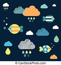 Colored fishes and clouds. Kids wall paper pattern. - Kids ...