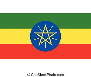 Colored flag of Ethiopia