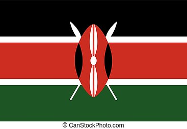 Colored flag of Kenya