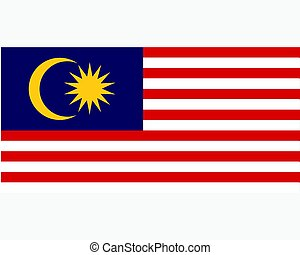 Colored flag of Malaysia