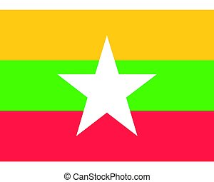 Colored flag of Myanmar