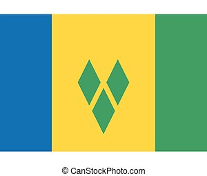 Colored flag of Saint Vincent and the Grenadines
