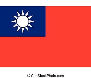 Colored flag of Taiwan