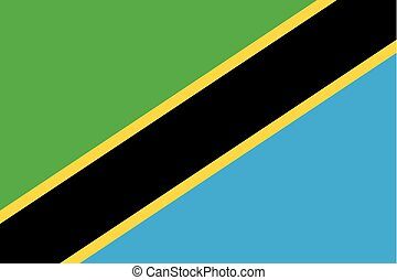 Colored flag of Tanzania