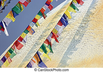 Colored flags in front of Boudha Nath (Bodhnath) stupa