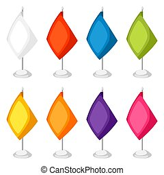 Colored flags templates. Set of promotional gifts and souvenirs