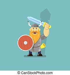 flat art cartoon illustration of a viking with sword and shield