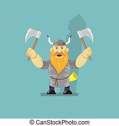 flat art cartoon illustration of a viking with two axes