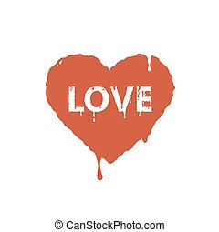 flat art illustration of current paint red hearts with the word love