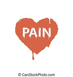 flat art illustration of current paint red hearts with the word pain