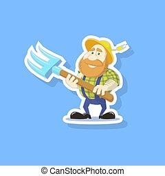 flat art vector illustration of a cute cartoon farmer with a pitchfork