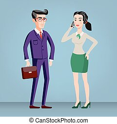 Colored flat design style illustration of business people - man and woman - dressed in suits. Isolated on stylish background. For infographics, banners and printed materials. vector
