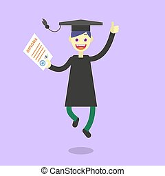 flat illustration of a cartoon happy graduate student -...