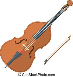 colored flat style contrabass music instrument illustration