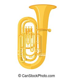 colored flat style tuba music instrument vector illustration