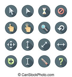 colored flat style various cursors icons set