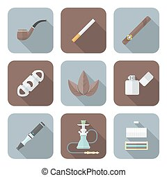 colored flat style various tobacco goods tools icons set