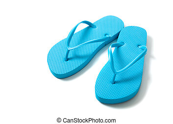 Colored flipflops on a white background