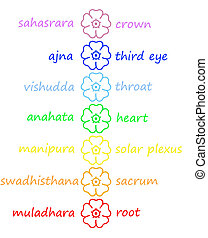 Colored flowers in chakra column