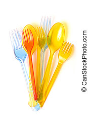 colored forks and spoons