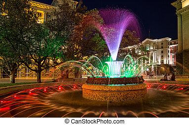 Colored fountain in Sofia, Bulgaria - Colored fountain in ...