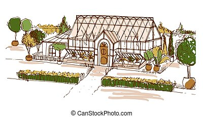 Colored freehand drawing of glasshouse or building surrounded by bushes and trees growing in pots. Sketch of facade of glass greenhouse or orangery. Hand drawn vector illustration in vintage style.