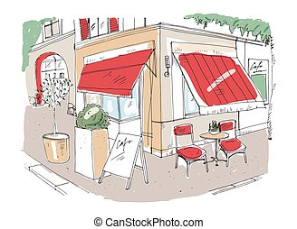 Bistro Restaurant With Awning Table And Chairs Bistro