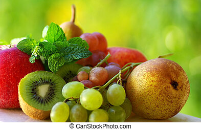 Colored fresh fruits .
