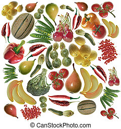 colored fruit and vegetables background