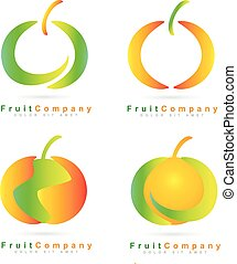 Colored fruit logo set