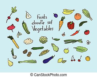 Colored Fruits and vegetables Sketch set