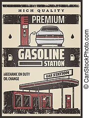 Colored Fuel Station Poster
