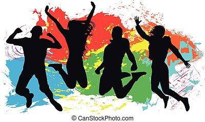 colored., gai, femme, silhouette, coloré, isolated., sauter, saut, arrière-plan., vecteur, jeunesse, amis, homme