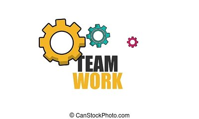 colored gear mechanical team work animation hd