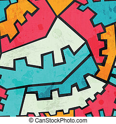colored gear seamless pattern with grunge effect