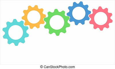 Colored Gears Moving Each Other. Computer Generated Seamless Loop Abstract Motion Background.