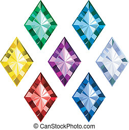 colored gems on white background