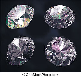 Set of four colored gems isolated on dark blue background. Gems are grouped and separated from gradient mesh background.