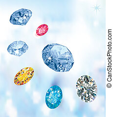 Colored gems isolated on light blue
