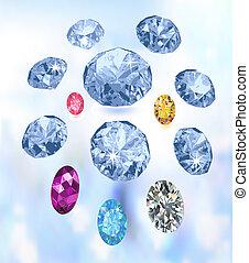 Colored gems on light blue background