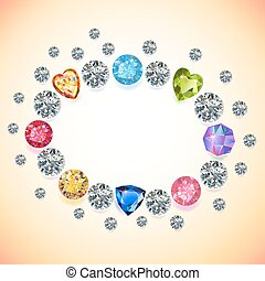 Colored gems oval frame