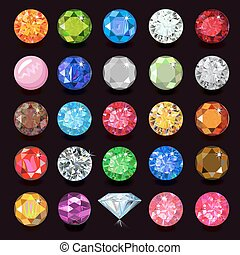 Colored gems set