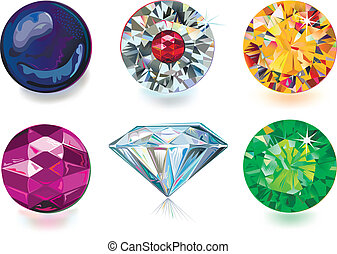 Set of colored gems isolated on white background. Created in Adobe Illustrator. Image contains gradients and gradient meshes. EPS 8.